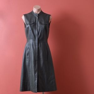 BCBG Alexandria Faux Leather Deep Olive Dress